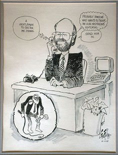 George Fisher cartoon of Ernie Dumas and Jerry Maulden, December 11, 1987 © Pryor Center for Arkansas Oral and Visual History, University of Arkansas