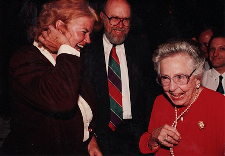Molly Ivins, Ernie Dumas, and Irene Samuel at ACLU Banquet in 1994 © Pryor Center for Arkansas Oral and Visual History, University of Arkansas
