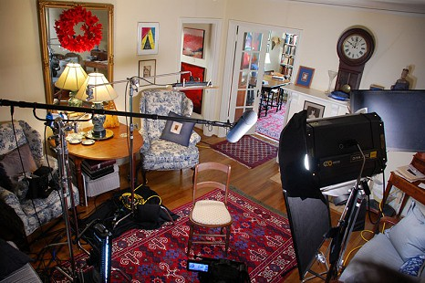 Behind-the-scenes photo from Pryor Center interview with Ernie Dumas; Little Rock, Arkansas, 2009 © Pryor Center for Arkansas Oral and Visual History, University of Arkansas