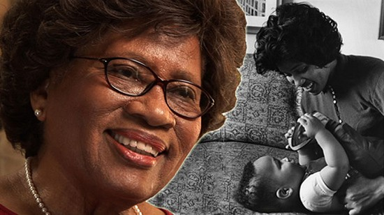 Composite image of early photo of Joycelyn Elders and still frame from Pryor Center video interview © Pryor Center for Arkansas Oral and Visual History, University of Arkansas