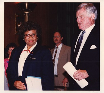 Joycelyn Elders with Senator Ted Kennedy during her confirmation hearings for Surgeon General © Pryor Center for Arkansas Oral and Visual History, University of Arkansas