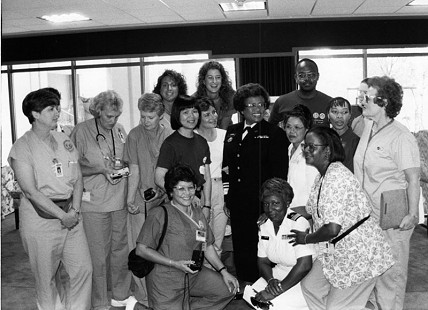 Joycelyn Elders with hospital staff © Pryor Center for Arkansas Oral and Visual History, University of Arkansas