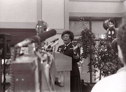 Joycelyn Elders at a press conference © Pryor Center for Arkansas Oral and Visual History, University of Arkansas