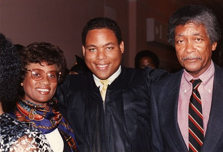 Joycelyn and Oliver Elders with their son, Kevin, at his MBA graduation from Grambling State University, 1990 © Pryor Center for Arkansas Oral and Visual History, University of Arkansas