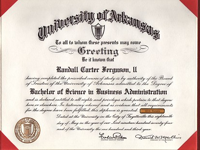Randall Ferguson Jr.'s Bachelor of Science in Business Administration diploma from University of Arkansas, 1974 © Pryor Center for Arkansas Oral and Visual History, University of Arkansas