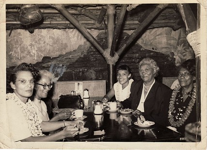 From the left: Joanne Lindsey; Ashley Cain; Gladys Lindsey; Randall Ferguson Sr.'s mother, Lula Ferguson; and Annie Jacobs in the dance hall at Ferguson's Lounge, ca. 1946 © Pryor Center for Arkansas Oral and Visual History, University of Arkansas