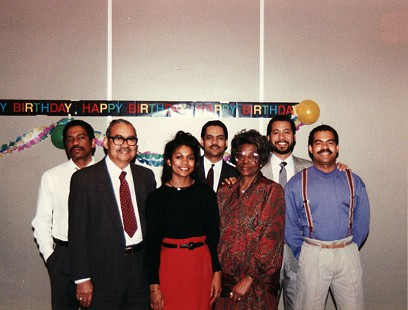 The Ferguson family at Randall Ferguson Sr.'s 70th birthday party: James, Randall Sr., Jeanette, Randall Jr., Lizzie, Robert, and John, 1989 © Pryor Center for Arkansas Oral and Visual History, University of Arkansas