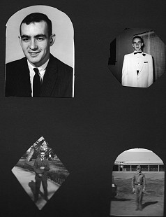 Photos of Dan Ferritor as a young man; top left: in a suit; top right: going to a dance; bottom left and right: in his Air Force uniforms © Pryor Center for Arkansas Oral and Visual History, University of Arkansas