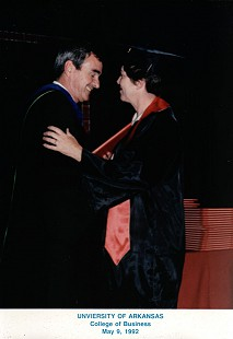 Patsy Ferritor with her husband, Dan, at her UA graduation ceremony, 1992 © Pryor Center for Arkansas Oral and Visual History, University of Arkansas