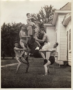 Edmond Freeman (bottom left) building a pyramid with his boys' gymnastic club; Pine Bluff, Arkansas, ca. 1940 © Pryor Center for Arkansas Oral and Visual History, University of Arkansas