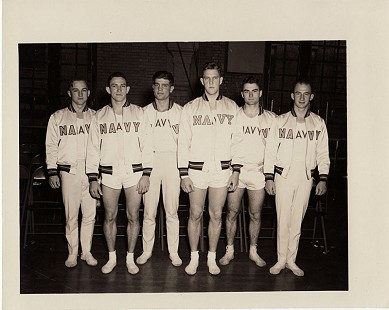 Edmond Freeman (2nd from right) with US Naval Academy gymnastics team; Annapolis, Maryland, ca. 1947 © Pryor Center for Arkansas Oral and Visual History, University of Arkansas