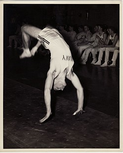 Edmond Freeman doing flips as part of the US Naval Academy gymnastics team; Annapolis, Maryland, ca. 1945 © Pryor Center for Arkansas Oral and Visual History, University of Arkansas