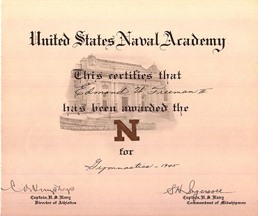 Edmond Freeman, US Naval Academy gymnastics certificate, 1945 © Pryor Center for Arkansas Oral and Visual History, University of Arkansas