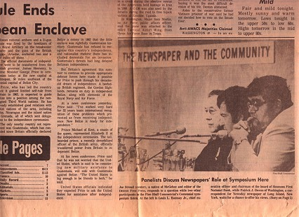 Newspaper clipping about the Pine Bluff Commercial's Centennial symposium, from left: Louis Ramsay, Joe Stroud, Pat Owens, September 1981  © Pryor Center for Arkansas Oral and Visual History, University of Arkansas