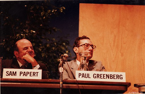 Sam Papert and Paul Greenberg on the panel of the Pine Bluff Commercial's Centennial symposium, 1981 © Pryor Center for Arkansas Oral and Visual History, University of Arkansas