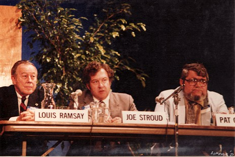 Louis Ramsay, Joe Stroud, and Pat Owens on the panel of the Pine Bluff Commercial's Centennial symposium, 1981 © Pryor Center for Arkansas Oral and Visual History, University of Arkansas
