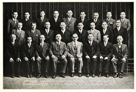 June Freeman's maternal grandfather, Samuel Zuckerman, front row, 3rd from left, with a group of men from his hometown, Chechanovtzer, Poland, gathered in New York City, 1932 © Pryor Center for Arkansas Oral and Visual History, University of Arkansas