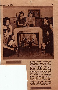June Biber (Freeman) in puppet show put on by the Cardiac Starlets, junior group of United Order of True Sisters, January 7, 1940 © Pryor Center for Arkansas Oral and Visual History, University of Arkansas