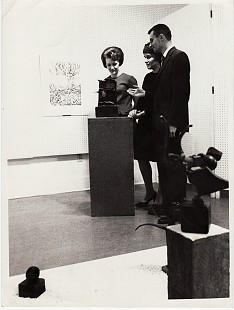 June Freeman showing patrons around the Little Firehouse Community Arts Center; Pine Bluff, Arkansas, ca. 1966 © Pryor Center for Arkansas Oral and Visual History, University of Arkansas