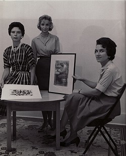 June Freeman, right, with Joyce Faulkner, center, in a publicity photo for the Little Firehouse Community Arts Center, Pine Bluff, Arkansas © Pryor Center for Arkansas Oral and Visual History, University of Arkansas