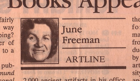 June Freeman byline from her Artline column in the Pine Bluff Commercial © Pryor Center for Arkansas Oral and Visual History, University of Arkansas