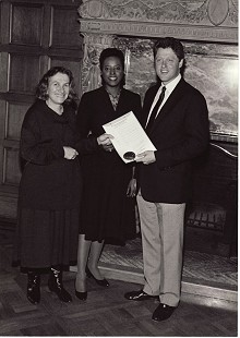 June Freeman, Rae Perry, and Arkansas Governor Bill Clinton at a presentation to the Arts Council, 1980 © Pryor Center for Arkansas Oral and Visual History, University of Arkansas