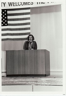 June Freeman speaking at the signing of the sister city charter between Iwai, Japan, and Pine Bluff, Arkansas; Iwai, Japan, ca. 1986 © Pryor Center for Arkansas Oral and Visual History, University of Arkansas