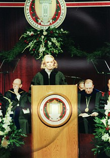 Ellen Gilchrist, recipient of an honorary degree from the University of Arkansas, speaking at the All-University Commencement; Fayetteville, Arkansas; May 13, 2000 © Pryor Center for Arkansas Oral and Visual History, University of Arkansas