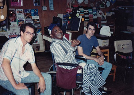 Musicians (from left) Dave Burke, CeDell Davis, and Dale Beavers at Gist Music Company, Helena, Arkansas, 1994 © Pryor Center for Arkansas Oral and Visual History, University of Arkansas