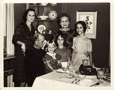 Hank Haines's family; (clockwise from left) his wife, Nancy S. Haines; his mother, Florence Haines; his daughters, Elizabeth, Harriet, and Margaret; and his father, Harry W. Haines; Thanksgiving, Blytheville, Arkansas © Pryor Center for Arkansas Oral and Visual History, University of Arkansas