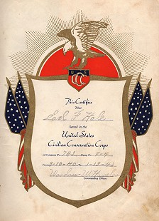 Earl Hale's Civilian Conservation Corps certificate, 1942 © Pryor Center for Arkansas Oral and Visual History, University of Arkansas
