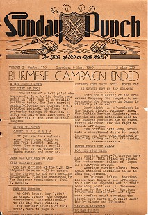 "Issue of <i>Sunday Punch</i> with the headline ""Burmese Campaign Ended,"" 8 May 1945 © Pryor Center for Arkansas Oral and Visual History, University of Arkansas"