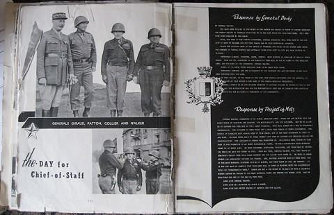 "Photo of Generals Giraud, Patton, Collier, and Walker from <i>Saga of the XX ""Ghost"" Corps: Its History and Service in World War II</i>, ca. 1945 © Pryor Center for Arkansas Oral and Visual History, University of Arkansas"