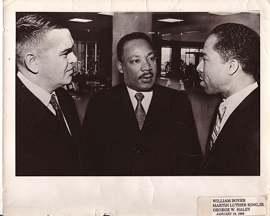 William Boyer, Martin Luther King Jr., and George W. Haley, 1968 © Pryor Center for Arkansas Oral and Visual History, University of Arkansas