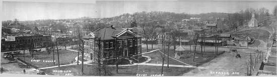 Panorama of the Square, Harrison, Arkansas                            © Pryor Center for Arkansas Oral and Visual History, University of Arkansas