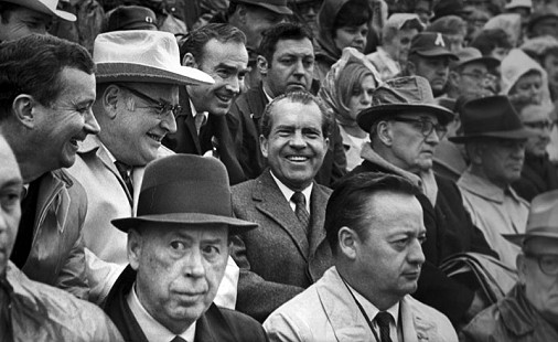 John Paul Hammerschmidt, Winthrop Rockefeller, Richard Nixon, John McClellan, and J. William Fulbright at the Arkansas-Texas game, Fayetteville, Arkansas; December 6, 1969                            © Pryor Center for Arkansas Oral and Visual History, University of Arkansas