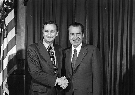 John Paul Hammerschmidt shaking hands with Richard Nixon              © Pryor Center for Arkansas Oral and Visual History, University of Arkansas