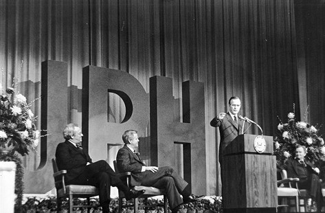John Paul Hammerschmidt, George Bush, Frank White, and Ed Bethune; Fort Smith, Arkansas, 1982                                © Pryor Center for Arkansas Oral and Visual History, University of Arkansas