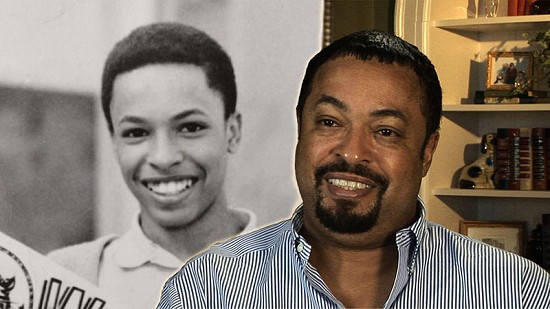Composite image of early photo of E. Lynn Harris and still frame from Pryor Center video interview © Pryor Center for Arkansas Oral and Visual History, University of Arkansas