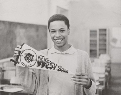 E. Lynn Harris at West Side High School with Bearcat pennant © Pryor Center for Arkansas Oral and Visual History, University of Arkansas