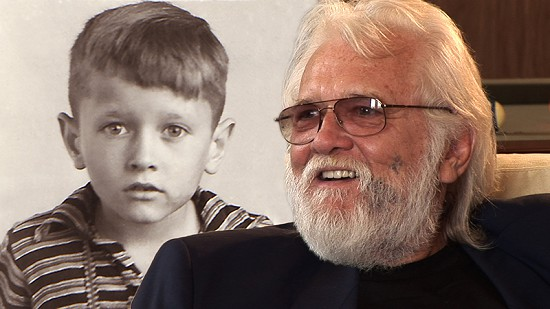 Composite image of early photo of Ronnie Hawkins and still frame from Pryor Center video interview © Pryor Center for Arkansas Oral and Visual History, University of Arkansas