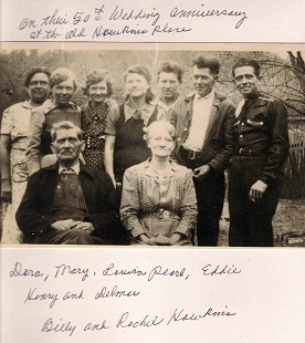 Ronnie Hawkins's grandparent's 50th anniversary: (front row) Billy and Rachel Hawkins; (back row) Dora, Mary, Louisa, Pearl, Eddie, Henry, and Delmar; Hawkins Hollow, Arkansas © Pryor Center for Arkansas Oral and Visual History, University of Arkansas