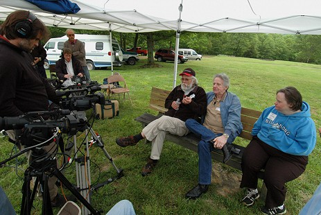 Behind-the-scenes photo from Pryor Center interview with Dale and Ronnie Hawkins at their family reunion; Pettigrew, Arkansas, 2006 © Pryor Center for Arkansas Oral and Visual History, University of Arkansas
