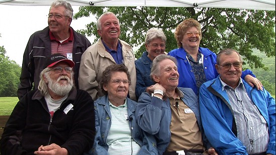 Ronnie Hawkins (front row, left) and Dale Hawkins (front row, 3rd from left) with family members at the Hawkins Family Reunion; Pettigrew, Arkansas, 2006 © Pryor Center for Arkansas Oral and Visual History, University of Arkansas