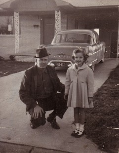 J. B. Hunt with his daughter, Jane Hunt, in front of their Pontiac, 1958 © Pryor Center for Arkansas Oral and Visual History, University of Arkansas
