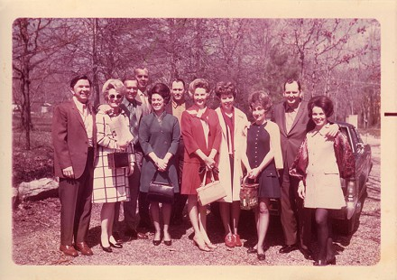 Stuttgart Bridge Club: Dr. Jack and Bonnie Pritchard, unidentified couple, Don Underwood, Dr. Dean Laird, Johnelle Hunt, Anne Laird, Betty Underwood, J. B. Hunt, Rayeanne Cocker; Hot Springs, March 1970 © Pryor Center for Arkansas Oral and Visual History, University of Arkansas