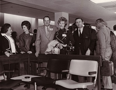 J. B. and Johnelle Hunt (center) with (on left) her mother and sister, Ollie DeBusk and Gloria Duckworth; and (on right) brother-in-law, Jack Duckworth, on their way to Spain, 1971  © Pryor Center for Arkansas Oral and Visual History, University of Arkansas
