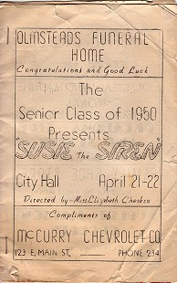 Program from Heber Springs senior class play, <i>Susie the Siren</i>, 1950 © Pryor Center for Arkansas Oral and Visual History, University of Arkansas