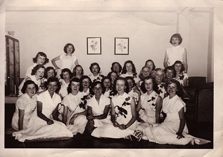 Johnelle DeBusk (Hunt) (back row seated, on left) with her sorority sisters of Alpha Sigma Tau at Arkansas State Teachers College, Conway, 1950 © Pryor Center for Arkansas Oral and Visual History, University of Arkansas