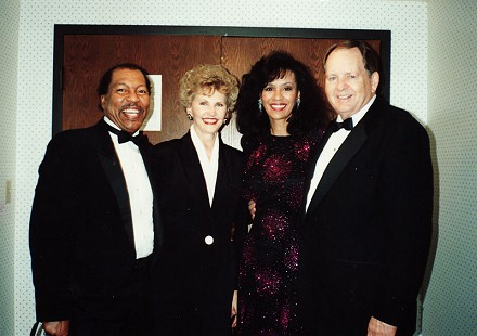 Billy Davis Jr., Johnelle Hunt, Marilyn McCoo, and J. B. Hunt at the Easter Seals Awards; the Hunts were the first couple to receive the Easter Seals Arkansans of the Year award; October 1990 © Pryor Center for Arkansas Oral and Visual History, University of Arkansas